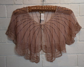 Vintage Lace Beaded Shawl Designer Maria Grachrogel