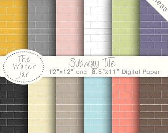Subway Tile Digital Paper Pack SEAMLESS Patterns, Subway Tiles, Instant Download Paper Pack, Seamless Repeating Pattern