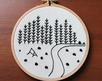 Mountain View, Wall or Door Hanging Embroidery Hoop Art, Fabric Wall Hanging, Needlepoint, Hand Embroidery, Stitched Art