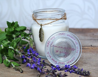 Natural Essential Oil Candle - Soy Candles - Lemongrass and Sage Candle - Scented Jar Candles - Aromatherapy - Natural Candles - Hand Poured