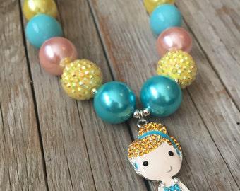 Rhinestone Cinderella Necklace Cinderella Chunky necklace Disney Princess Inspired Bubblegum Necklace