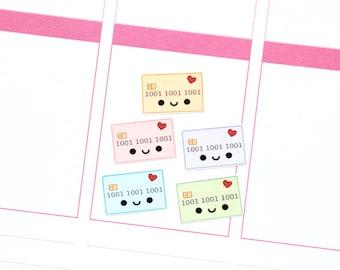 Happy Credit Card Monthly Reminder Tracker Cute Kawaii Planner Stickers Erin Condren Midori Calendar Funny Loan Bill Payment