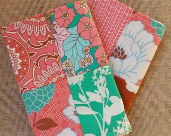Burp Cloths - 2 Pack - Vintage Floral in Coral, Maize, Emerald, Baby Girl Burp Cothes, Flannel, Burp Rag, Spit Rag