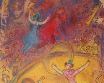 Marc Chagall: The circus, displays original vintage - 1982