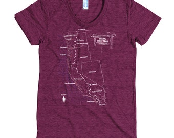Pacific Crest Trail Tee Shirt with Trail Map - Women's Tee