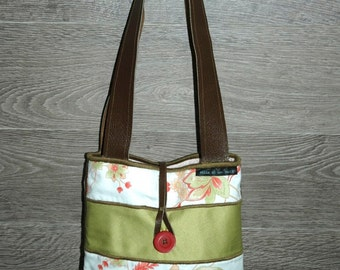 Small tote buttoned / straps in leather/fabric flowers, salmon and green strips / made in the hand/materials recycled and recovered