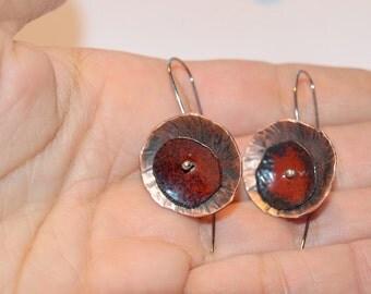 Red poppy earrings Copper enamel earrings Red enamel earrings Dangle poppy earrings Red copper earrings Red earrings Long dangle earrings