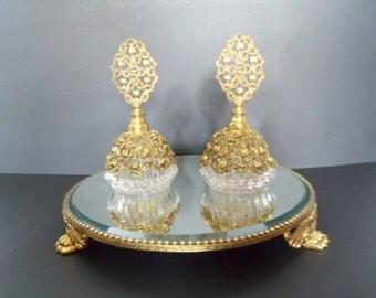 Vintage Vanity Mirror - Mirrored Perfume Tray - Two Perfume Bottles - 1950s
