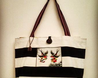 "Stiff black white striped canvas bag ""Hope"""