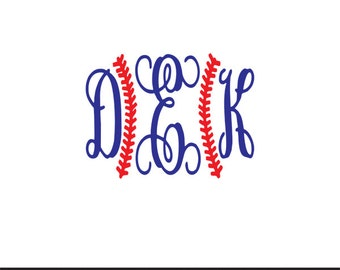 baseball stitches monogram frame svg dxf file instant download silhouette cameo cricut clip art