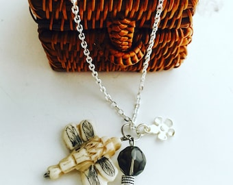 Carved Dragonfly Pendant Necklace with Silver flower and Charcoal disco bead