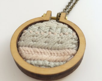 Embroidered necklace – pastel pink, grey and cream – embroidery hoop necklace – embroidered jewelry – embroidered pendant