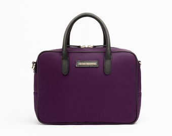 Stylish Lunch Bag for Woman, Adult Small Insulated Lunch Box Cooler Tote in Saffiano Bilberry Purple. Preppy Lunch Box Gift. Gift for Her.