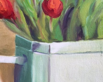 Flowers in vase close up 8 x 10 oil on canvas panel
