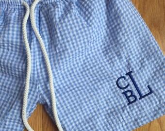 Baby or toddler boy monogram swim trunks