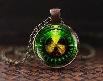 Radiation Hazard Symbol necklace, Radioactive, Chemistry, Physics necklace, Sci Fi, Science necklace, Fallout necklace, mens necklace, m102
