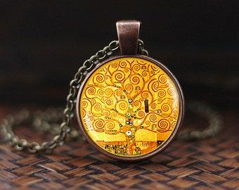 Tree of life Klimt pendant, Tree of life Gustav Klimt necklace, Gustav Klimt jewelry, Klimt necklace, gift for artists