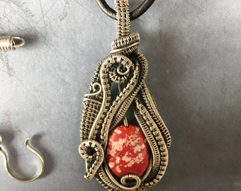 Speckled white and red pendant - wire woven pendant with dyed red howlite bead