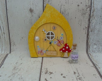 Fairy Door Elf Door Yellow Butterfly Beautiful Handmade Various options