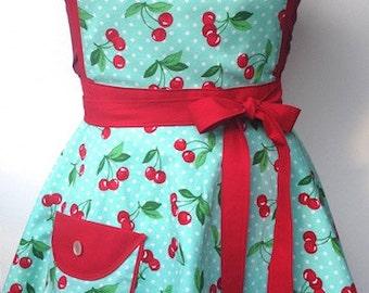 Custom Cherries apron- adult O/S Retro 50's inspired
