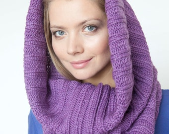Purple Knitted cowl Circle Scarf Hand Knit , Knitted scarf LIC
