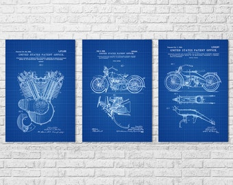 Harley Davidson Patent Collection of 3 - Patent Prints, Wall Decor, Motorcycle Decor, Harley Davidson Art, Harley  Patents, Harley Bike