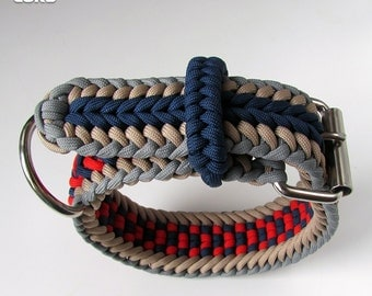 Custom Made Adjustable Paracord Dog Collar  Red - Blue - Cream - Grey