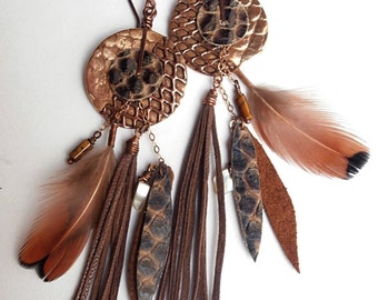 Gypsy Soul - Earrings-long, bronze gold, copper, feathers, leather, Python, Pearl, Tiger eye, Gold filed 14 c