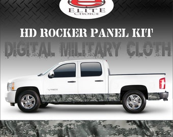 "Digital Military Cloth Camo Rocker Panel Graphic Decal Wrap Truck SUV - 12"" x 24FT"
