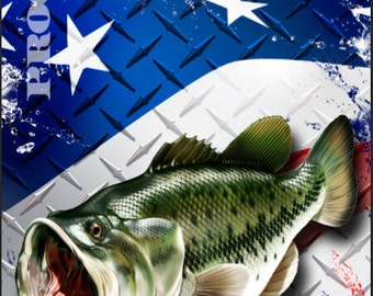 Bass fish flag etsy for American flag fish
