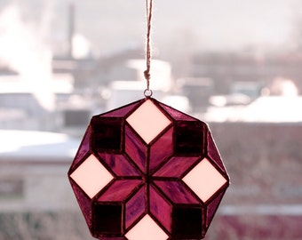 Stained Glass Octagon Window Hanging / Sun Catcher - Purple