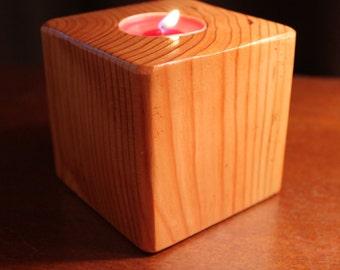 Cedar Tea Light Candle Holder
