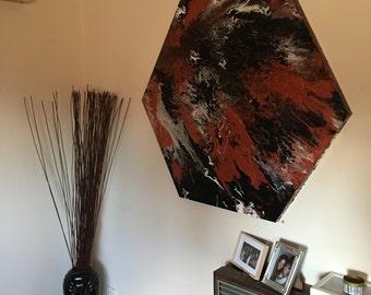 XXL Marble Effect Acrylic Painting - Black, Metallic White & Copper