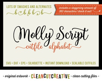 Molly Script Full Alphabet SVG Fonts Cutfile - Gorgeous Multiple Swashes fancy cricut font - Studio3 DXF EPS Silhoutte - clean cutting files