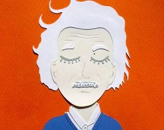 Collage Albert Einstein orange / Papercraft - papercut handmade / hand made paper cut illustration face