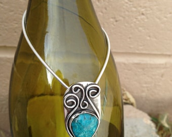 Contemporary Sterling & Turquoise Necklace