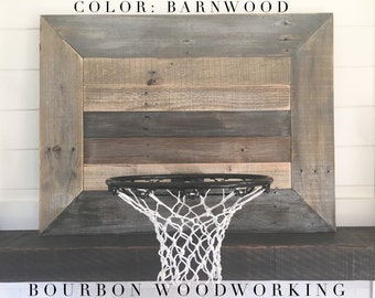 Rustic reclaimed wood MEDIUM backboard with basketball hoop for wall hanging. Fixer upper farmhouse style!