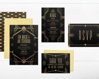 Art Deco Wedding Invitations, Gatsby Wedding Invitations, Printable Wedding  Invitations, Black And Gold