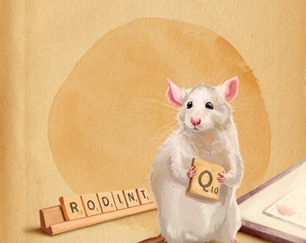 Rat playing a game Art Print // pigment print, archival 8x10 // reading rat, art gifts for readers, art for kids, rat lovers