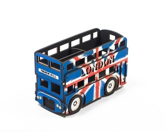 Union Jack London bus - desk storage - pen holder. Office desktop organizer. Collectible miniature model