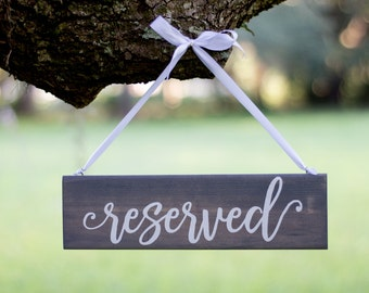 Wedding Reserved Sign - Rustic Wedding Decor - Hanging Reserved Signs - Chair Reserved Signs - Gray Wedding - Reserved Signs Wood
