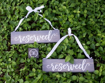 Gray Wedding - Wedding Reserved Sign - Rustic Wedding Decor - Hanging Reserved Signs - Chair Reserved Signs  - Reserved Sign Wood