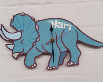 Dinosaur Wall Clock - childrens clock - wall clock - nursery decor - children birthday - playroom - kids clock - gift for children