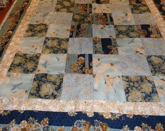 Handmade Quilt, Lap Quilt, Baby Quilt Bedding, Patchwork Quilt