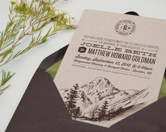 grey mountain wedding invitation postcard rsvp seattle