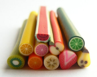 Set of 10 Fimo fruit canes - polymer clay