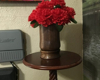 Hand made flower vase from black walnut wood