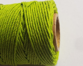 Lime Green Hemp Cord | 5 Meters (16ft) | Jewellery Making String | Beading Cord | Macrame String
