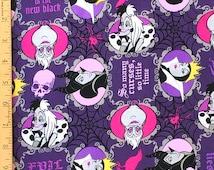 Disney Evil Queen Fabric, Evil is the New Black Fabric, Disney Villains Fabric, Cruella Deville, Maleficent, Ursula, Queen Mother Fabric