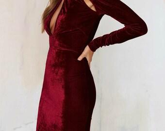 Red Velvet Cutout Mock Turtle Neck Valentine Sweetheart Dress